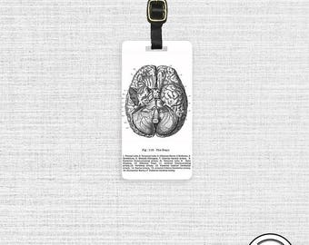 Luggage TagVintage Brain Medical Chart Luggage Tag -  Metal Tag Personalized Single Tag