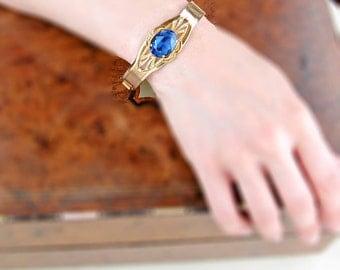 Vintage Blue Rhinestone Bracelet | Art Deco Bangle Bracelet | Vintage Blue Gold Bangle