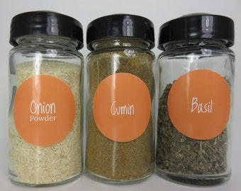 Tangerine Orange Spice Jar Labels 80 in Set