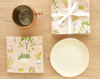 Plant Themed Cocktail Cloth Napkins in Rose Pink
