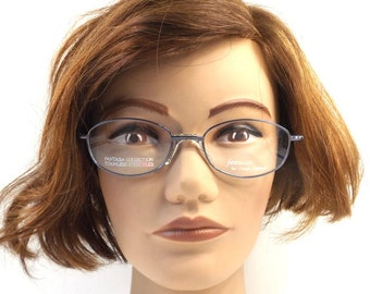 90s vintage. oval eyeglasses. metallic blue. metal wire frames. stainless steel. eye glasses. eyeglasses frames. 1990s eyeglasses. men. 118