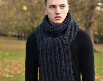 Men's Scarf, Chunky Long Scarf, Men's Knitted Scarf, Winter Scarf, Gift for Him, Anthracite