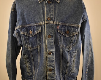 Vintage LEVI'S 1980's Denim Trucker Jean Jacket Type III 4 pocket SZ M - 001