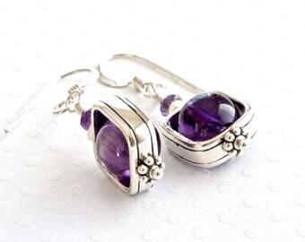 Amethyst Earrings, Sterling Silver Dangle Earrings, Purple Earrings, Stone Earrings, Birthstone Jewelry, Amethyst Jewelry, Gemstone Jewelry