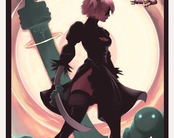 NIER AUTOMATA - 2B - Video Game Poster Art