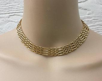 Napier Goldtone Link Necklace Choker, Designer Signed, Fashion Jewelry