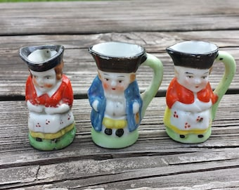 "Collection of 3 Toby Jugs, Toothpick Holders, Englishmen, Englishwoman, Made in Japan, 2"" Tall, Three Vintage Toby Jugs"