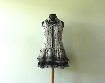Summer Dress, Tattered Ruffles Dress, Razor Back Tank Top Dress, Upcycled Clothing, Repurposed Cotton Dress, Eco Fashion, Reclaimed, Boho