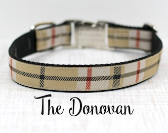 "Beige and Black Plaid Dog Collar, Dressy Dog Collar, Plaid Collar, Custom Dog Collar, Buckle Collar or Martingale, 1""Wide"