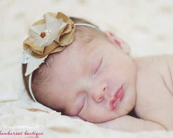 gold baby headband, newborn photography props, infant headband, gold headband