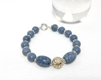 Mens Blue Coral Bead Bracelet with Sterling Silver