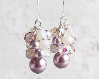 Lilac Purple Beaded Bridesmaid Earrings on Silver Plated Hooks