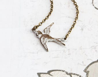 Small Bird Necklace, White Patina Brass Swallow Pendant on Antiqued Brass Chain, White Bird Necklace, Patina Jewelry, Simple Jewelry