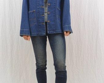 Vintage Denim Barn Jacket, Chore Jacket, Size XS-Small, 90's, Corduroy Collar, On Trend, Farmer, Gardener, Tumblr Clothing