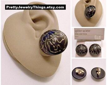 Avon Black Domed Buttons Clip On Earrings Gold Tone Vintage 1986 Sparkle Glitter Splatter Design Thick Lucite Big Discs