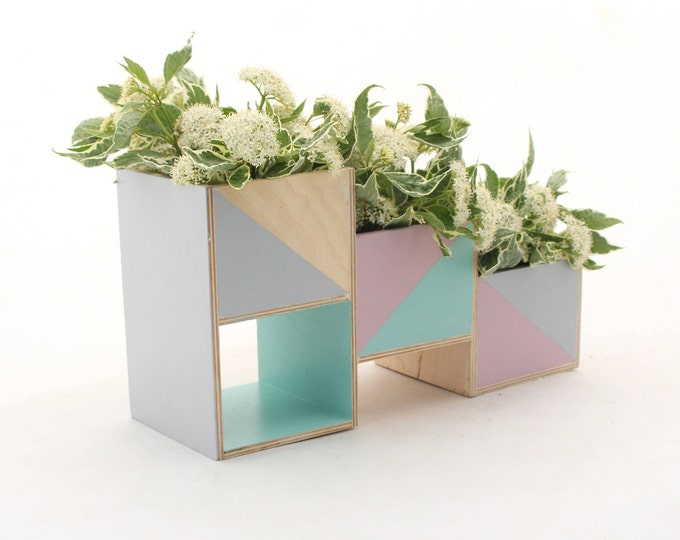 Featured listing image: Wooden herb planter, Pastel Mint Gray Pink Handpainted Windowsill Flowerpot, Succulent Planter, Box for Herbs, Pastel flower plant garden