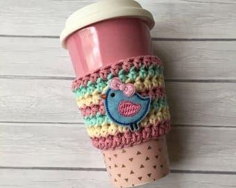 Coffee cozy, coffee sleeve, crochet coffee cozy, cup cozy, crochet cup cozy, coffee cup cozy, coffee cup sleeve, crochet cozy, bird cup cozy