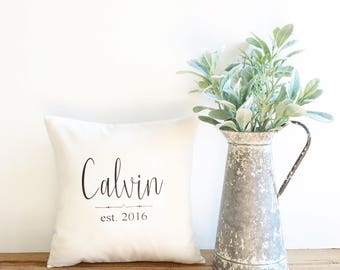 anniversary gift, cotton anniversary gift, family name pillow cover, 2nd anniversary gift, personalized pillow cover, farmhouse pillow