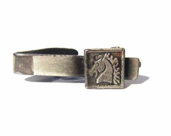 Chess Horse Tie Clip, Silver Tone Tie Clip, Vintage Gift for Him Men Tie Bar Tie Slide Tie Clasp