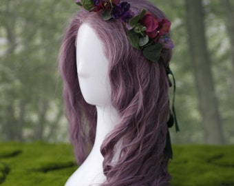 Purple flowers and green leaves headband Boho Vintage Headband Crown Diadem with Violet flowers and sprigs of Lavender