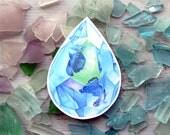 Betta Fish Crystal  Sticker - Waterproof Decal - Aquamarine Fighting Fish Watercolor
