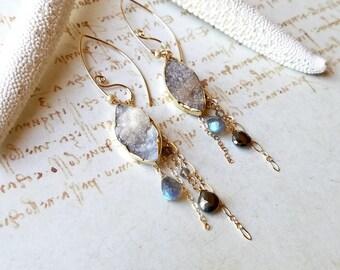 Grey Druzy Dangle, Labradorite Cluster Earrings, Druzy Chandelier Earrings, Grey Gold Dangle Earrings, Geode Dangle:  Ready to Ship
