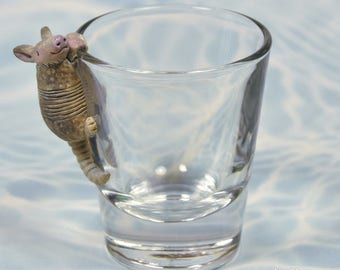 Hand Sculpted Armadillo 1.5 oz Shotglass
