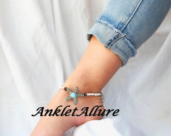 Beach Anklet Starfish Ankle Bracelets for Women Cruise Vacation Western Anklet GUARANTEED