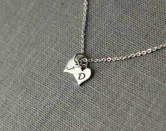 Valentine's Gift for Girlfriend, Valentine's Day Gift, Valentine's Necklace with Couples Personalized Initials in Sterling Silver