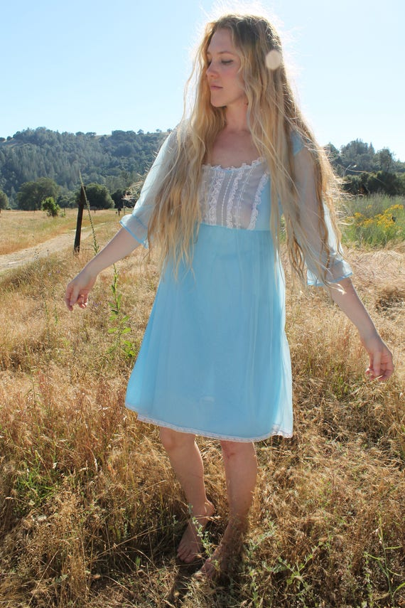 BABY BLUE 1980's Vintage Nightie Lace Neckline Pale Blue Night Gown