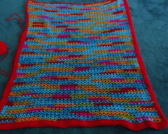 RTS- Bright Colored Baby Boy Afghan V-stitch Carnival Colors Baby Afghan Baby Blanket Baby Coverlet Baby Car Seat Blanket Crib Afghan