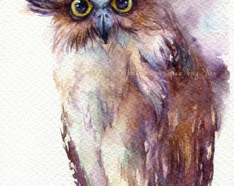 PRINT –Fish owl Watercolor painting 7.5 x 11""