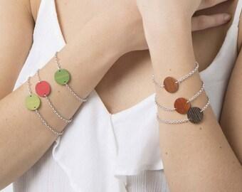 Circle bracelet, geometric bracelet, every day bracelet, delicate bracelet, simple chain bracelet, minimalist wood bracelet, gift for wife