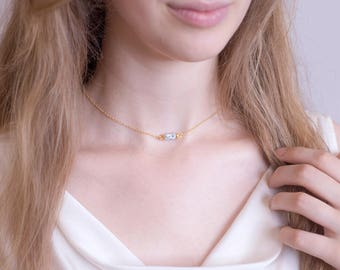 Minimalist Stone Choker, Dendrite Opal Gemstone Tube Necklace, Marble Jewelry, Simple Stone Necklace, Layered Necklace, Jewelry Trends, Boho