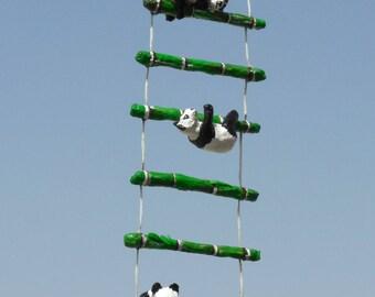 Little Giant Pandas Climbing Ladder Paper Sculpture