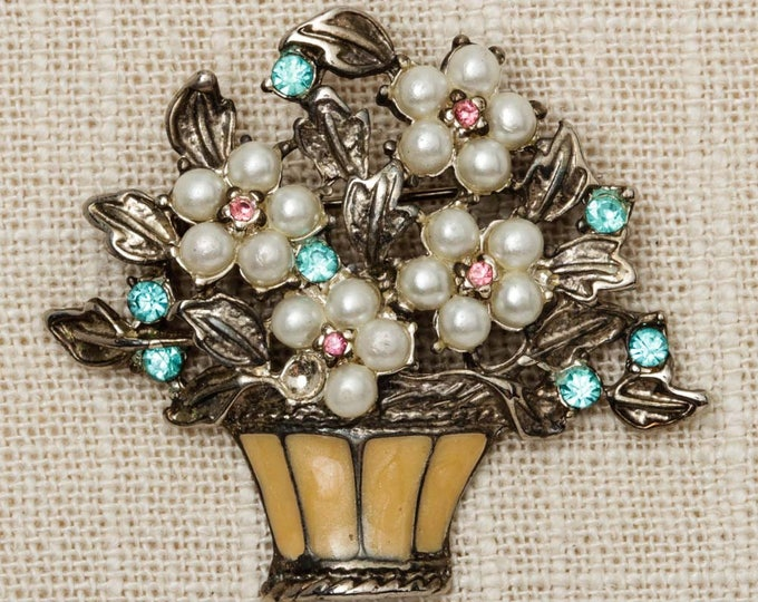 Colorful Flower Brooch Vintage Bouquet Broach Vtg Pin 7P