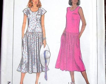 Easy Vintage 1980s Sewing Pattern Simplicity 9152 Drop Waist Sundress Pullover Knit Dress Women Miss Size 6 8 Bust 30 31 Uncut Factory Folds