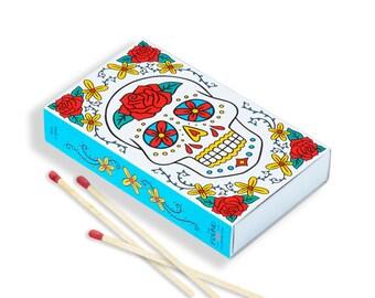 Sugar Skull Matchbox, Hand Illustration, Gift, Stocking Stuffer (Item 618)
