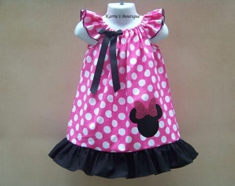 Minnie Mouse Dress / Pink Polka Dots & Black / Glitter / Disney / Birthday / Newborn / Infant / Baby / Girl / Toddler / Boutique Clothing