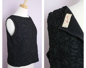 Vintage 1960's Black Sleeveless Ribbon Embroidered Boxy Top L/XL