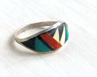 Zuni Ring Band Geometric Size 5 .75 Vintage Signed Native American Jewelry Sterling Silver Inlaid Desert Stones