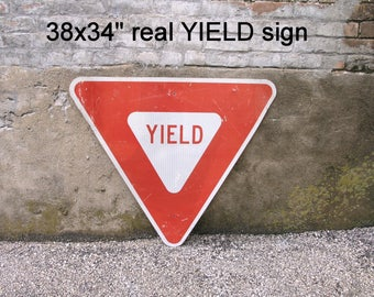 """38x34"""" Yield Sign Metal Road Sign Warning Caution Red White Triangle Wall Decor Kids Room animal crossing traffic Bachelor Party Gag Gift"""