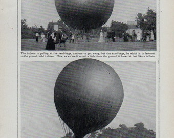 Antique print 1910. BALLOON Rises From The Ground. lithograph. Almost 100 years old print. Antique print plate.9.5x6.25 inches, 24x16cm