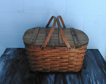 Vintage Wooden Weave Basket - Picnic Basket - Storage Basket - Farmhouse - Cottage - Neutral Decor