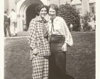 "Vintage Snapshot ""Sorority Sisters"" Attractive Women College Campus Plaid Skirt Suit Vintage Style Found Vernacular Photo Poet Blouse"