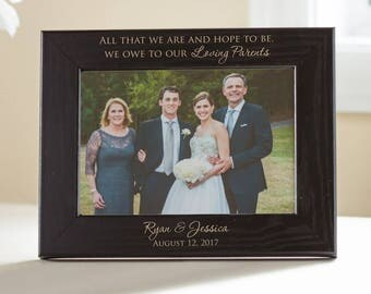 Personalized Parents of the Bride & Groom Picture Frame: Parents Wedding Gift, Parents Wedding Frame, Parents Wedding Thank You, SHIPS FAST
