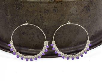 Purple Beaded Hoops, Macrame Hoop Earrings, Sterling Silver Hoops, Boho Hoops, Silver Earrings, Purple Earrings, Woven Hoops, Gift for Her