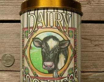 Vintage Milk Can Tin - Dairy Goodness Metal Container - 1980's Black White Holstein Cow with Bell in Green Pasture Fence Country Canister