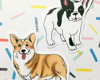 Dog Vinyl Stickers - Corgi Sticker - Frenchie Sticker - Sticker Set