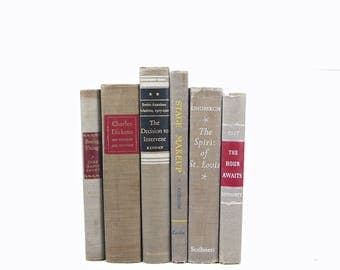 Taupe Gray Book Set, Grey BOok Decor, Decorative Books, COuntry chic Book collection, Brown Rustic Old book Farmhouse chic